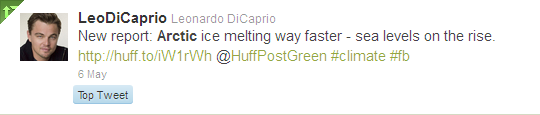Tweet from Leonardo DiCaprio re latest Arctic ice melt report