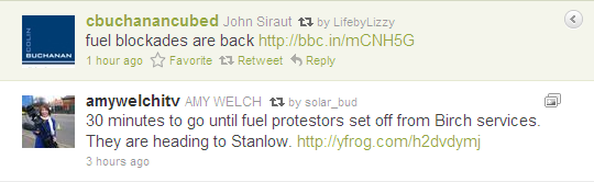 Two tweets re UK fuel protests
