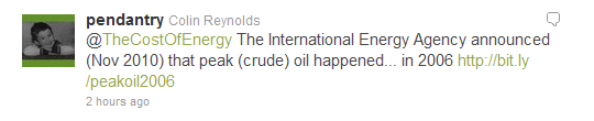 Tweet about the IEA acknowledgement of peak oil - in 2006