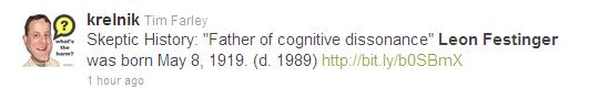 Tweet re anniversary of the birth of Leon Festinger