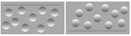 An image showing two groups of circles: the circles on the left seem to be indents on a surface, whereas those on the right appear to be bumps