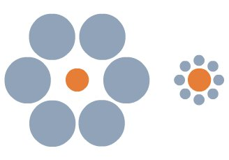 Two orange circles of exactly the same size, each surrounded by grey circles; on the left large grey circles, on the right, small grey circles. The orange circle on the left appears to be smaller than the one on the right.