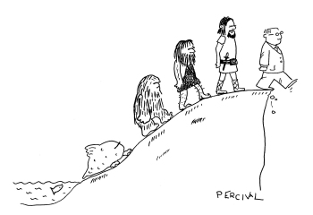 An illustration of the short-sightedness of homo fatuus brutus, who, having ascended to the cliff's edge, is about to step off.