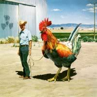 Image of a man leading what appears to be a very large cockerel