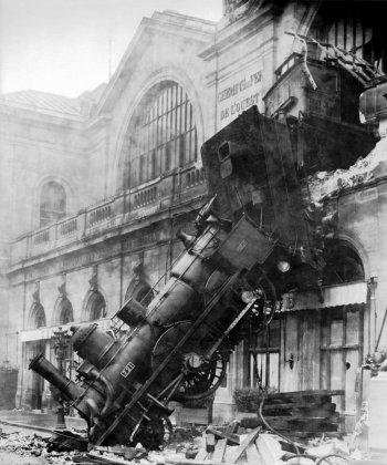 Old photograph of a steam train crash in Paris, France