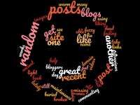 A wordcloud with focus on 'random blog posts'