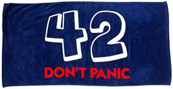 A picture of my towel, featuring the number 42 and the words 'Don't Panic'