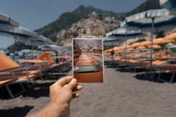 A photograph of a photograph: sunbeds