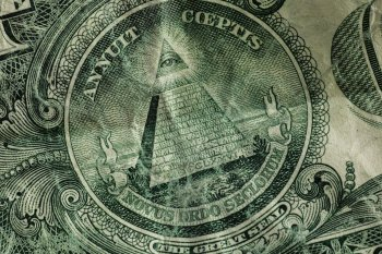 An image of the reverse of the Great Seal on the US dollar bill