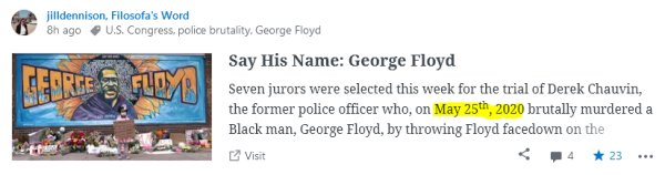 Image of the post announcement on the WordPress Reader of Jill Dennison's post about George Floyd