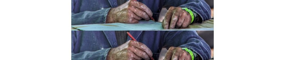 Photo of a grizzled old man, writing
