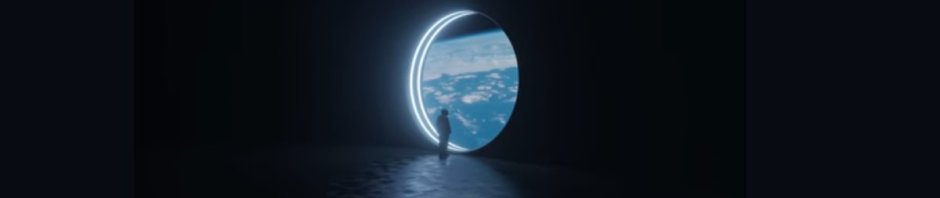 Man looking through a porthole out onto the Earth